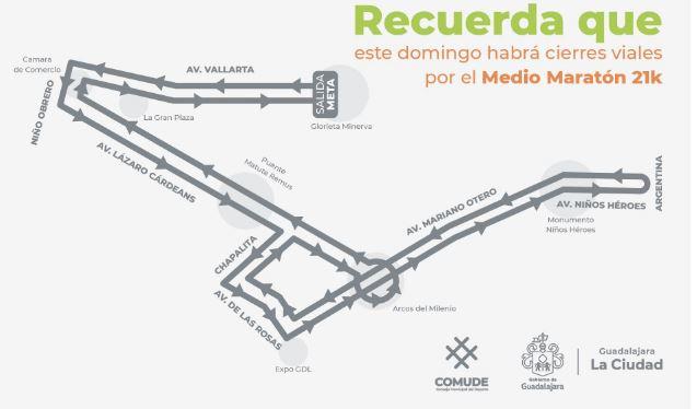 Anuncian cierres viales por Medio Maratón de Guadalajara